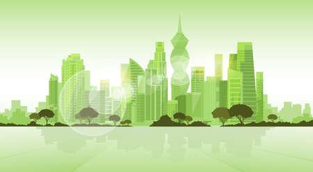 パナマ シティの超高層ビル ビュー景観背景スカイライン グリーン コピー スペース ベクトル イラスト シルエット  イラスト・ベクター素材