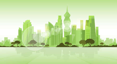 Panama City Skyscraper View Cityscape Background Skyline Green Silhouette with Copy Space Vector Illustration 向量圖像