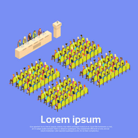 lecture hall: Business People Group Conference Hall Meeting 3d Isometric Vector Illustration
