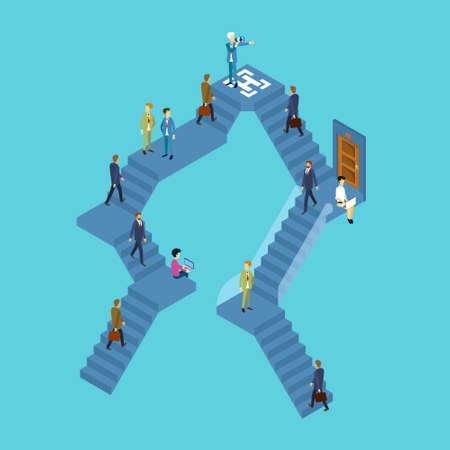 Business People Group On Staircase Businesspeople 3d Isometric Vector Illustration Illustration