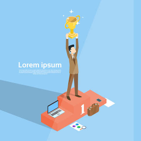 Business Man Stand On Podium Hold Prize Winner Cup, Success Concept 3d Isometric Vector Illustration