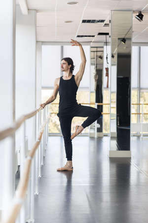 full length mirror: Young Male Ballet Dancer Posing Near Barre, Man Practicing In Dance Studio