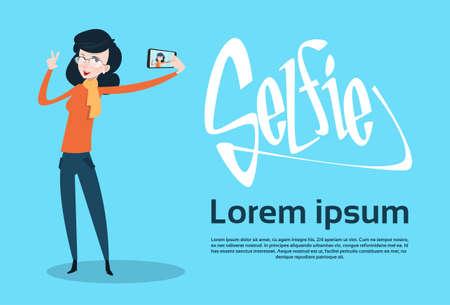 smart woman: Woman Taking Selfie Photo On Smart Phone Flat Vector Illustration Illustration