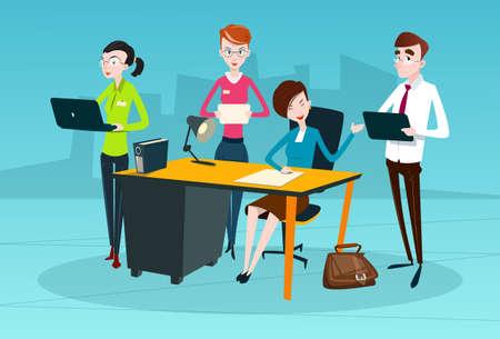 Business People Team Boss Businesswoman Manager Sit Teamwork Flat Vector Illustration Illustration