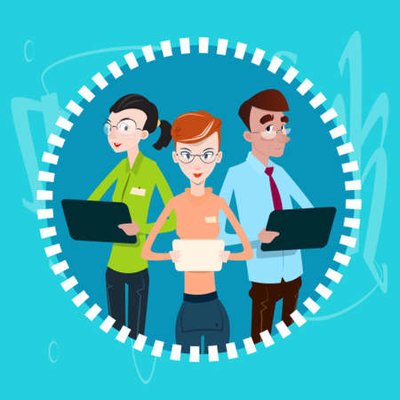 using computer: Business People Team Using Electronic Computer Digital Device Teamwork Flat Vector Illustration