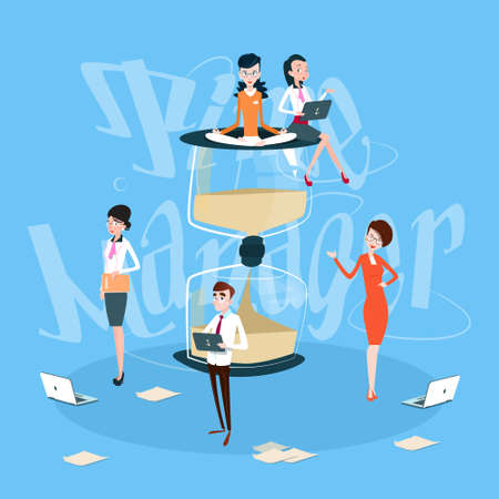 sand watch: Business People Team Working Process, Sand Watch Time Management Concept Flat Vector Illustration