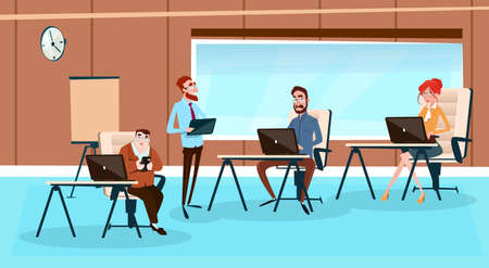 girl using laptop: Office Interior, Businesspeople Sitting Desk Business People Working Computer Flat Vector Illustration