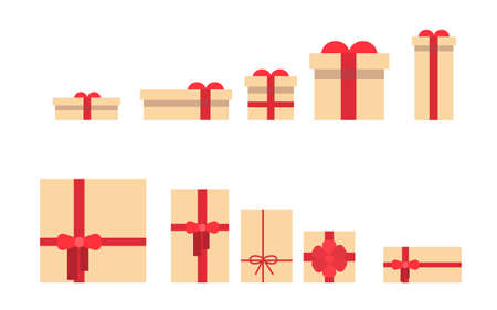 box size: Present Box Set Different Size Collection Flat Vector Illustration