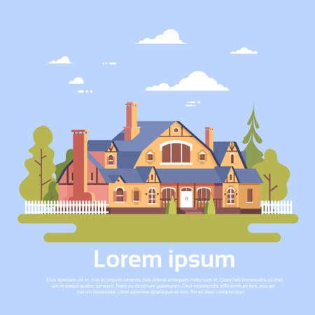 residence: Big Modern House Residence Estate With Garden Flat Vector Illustration