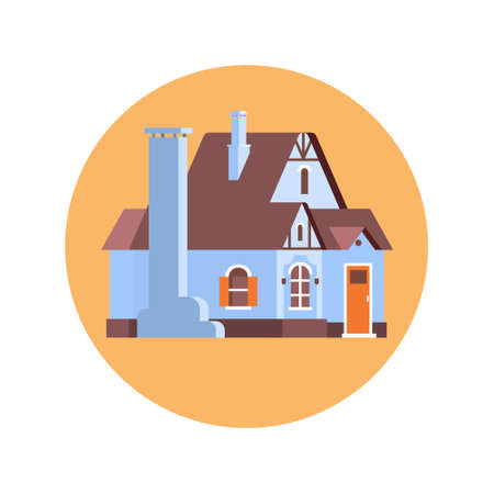 residence: Big Modern House Residence Estate Icon Flat Vector Illustration Illustration
