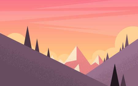 mountain sunset: Orange Mountain Sunset Sky Landscape Flat Vector Illustration Illustration