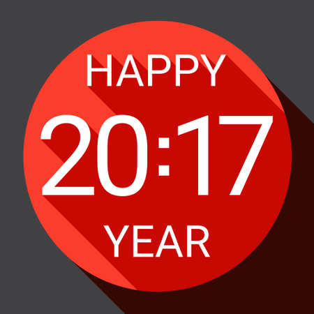 happy new year banner: Happy New 2017 Year Web Icon Banner Flat Vector Illustration