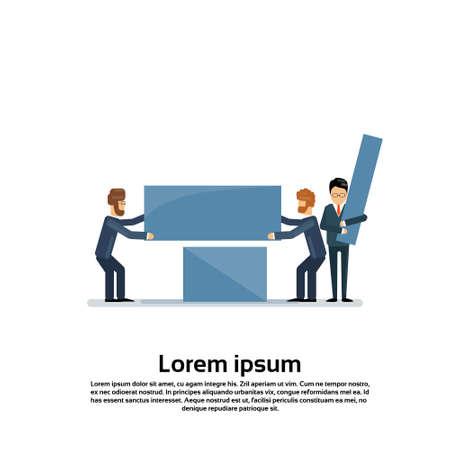 work together: Business People Group Work Together Team Support Teamwork Concept Flat Vector Illustration