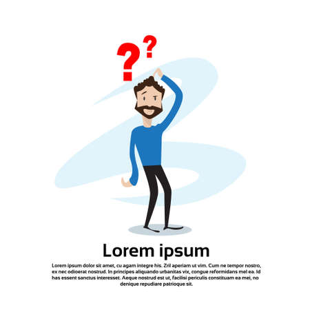 Business Man With Question Mark Pondering Problem Concept Flat Vector Illustration Çizim
