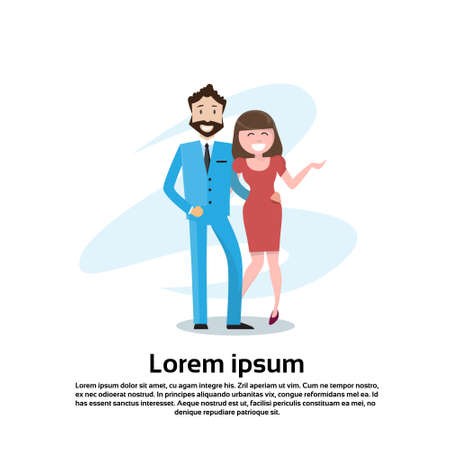 embrace: Couple Business Man And Woman Embrace Happy Smiling Flat Vector Illustration