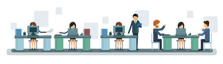 computer work: Business People Team Work Desktop Computer Banner Flat Vector Illustration