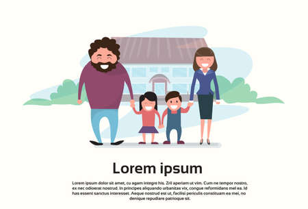 family outside house: Famity Parents Two Kids In Front of New House Flat Vector Illustration