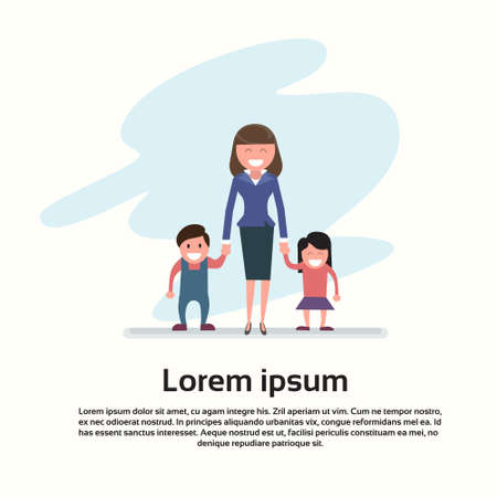 hold hands: Mother With Son Daughter Happy Family Woman And Little Boy Girl Hold Hands Flat Vector Illustration