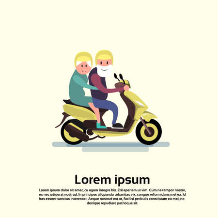 happy couple: Senior Man Woman Couple Ride Motorcycle Flat Vector Illustration