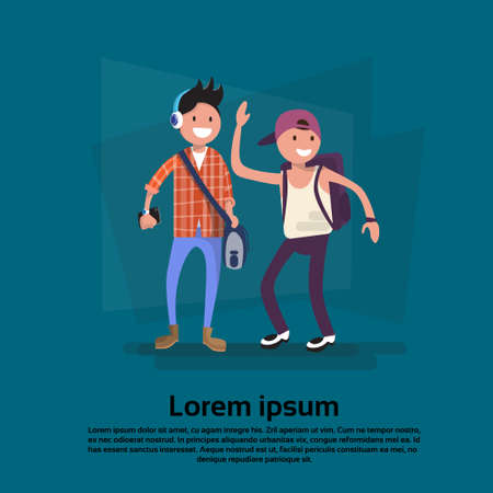 Two Cartoon Teenager Boy Smiling Student Friends Flat Vector Illustration