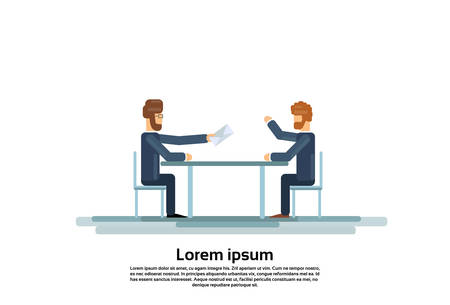 discussing: Two Business Man Talking Discussing Give Envelope Mail Document Communication Sitting at Office Desk Flat Vector Illustration
