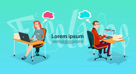 writer: Casual Business Man And Woman Freelancer Team Working Laptop Computer Flat Vector Illustration