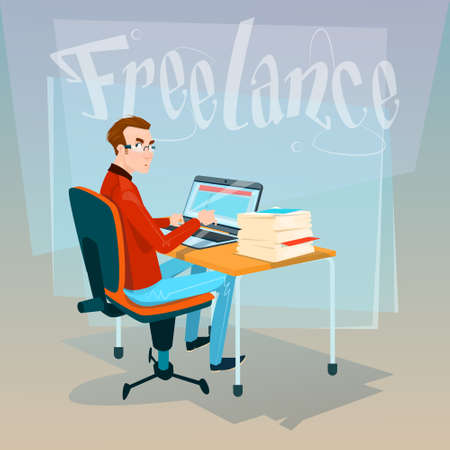 casual business man: Casual Business Man Freelancer Working Laptop Computer Flat Vector Illustration