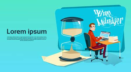 sand watch: Business Man Freelancer Working Laptop Computer Sand Watch Time Management Concept Flat Vector Illustration