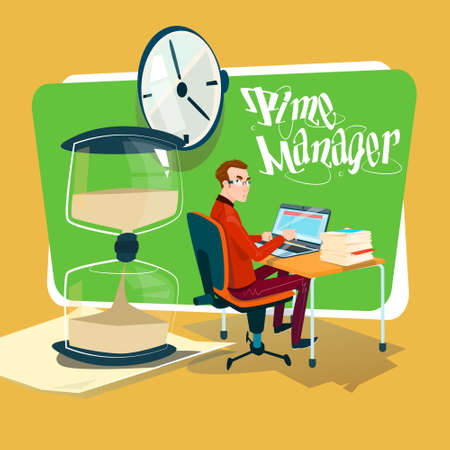 sand watch: Business Man Freelancer Working Laptop Computer Sand Watch Time Management Concept Flat Vector Illustration