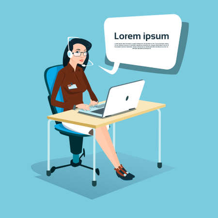 headset business: Business Woman Sitting Desk Office Working Laptop Computer Wear Headset Call Center Operator Flat Vector Illustration