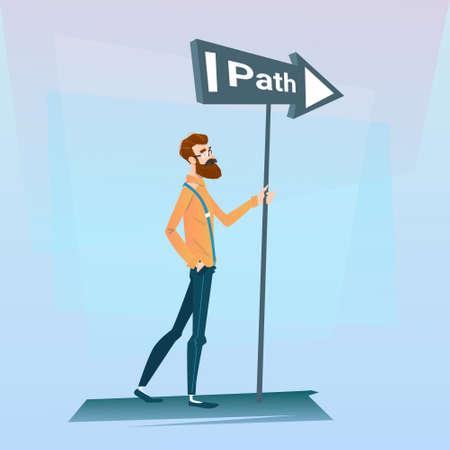 pondering: Businessman Choose Path Way Sign Board Road Flat Vector Illustration
