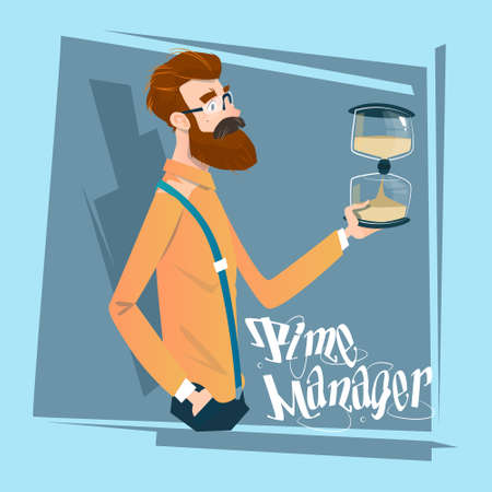 sand watch: Business Man With Sand Watch Time Management Concept Flat Vector Illustration