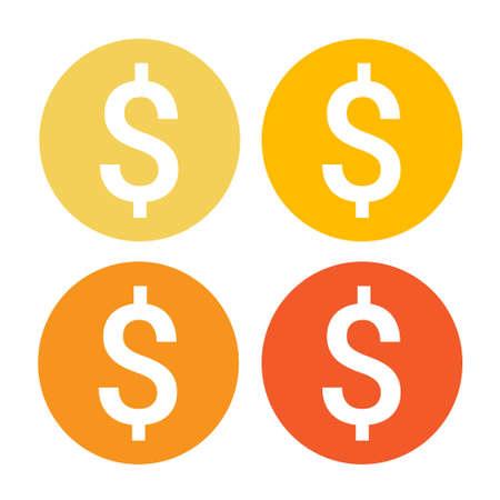 Dollar Sign Money Web Icon Colorful Set Flat Vector Illustration
