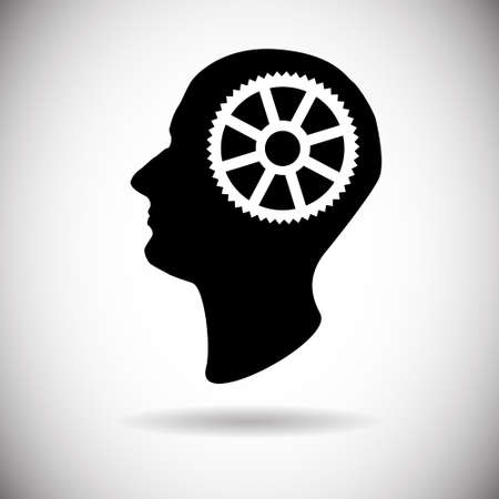 ponder: Human Head With Cogwheel Icon Brainstorming Process Flat Vector Illustration