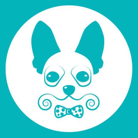 Small Dog Icon Pet Face Web Flat Vector Illustration