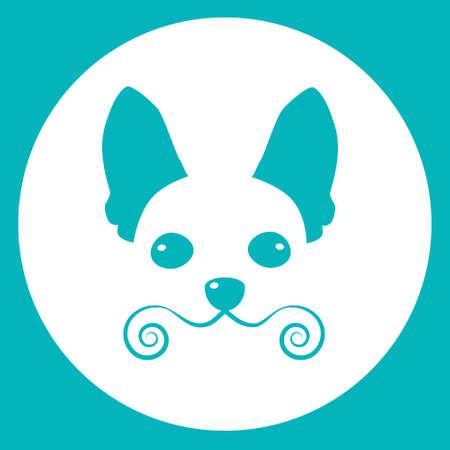 chihuahua: Small Dog Icon Pet Face Web Flat Vector Illustration