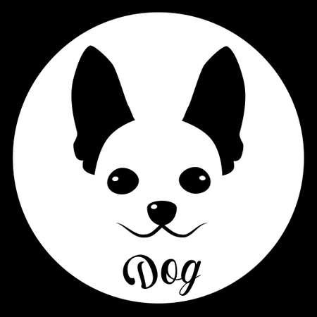 small dog: Small Dog Icon Pet Face Web Flat Vector Illustration