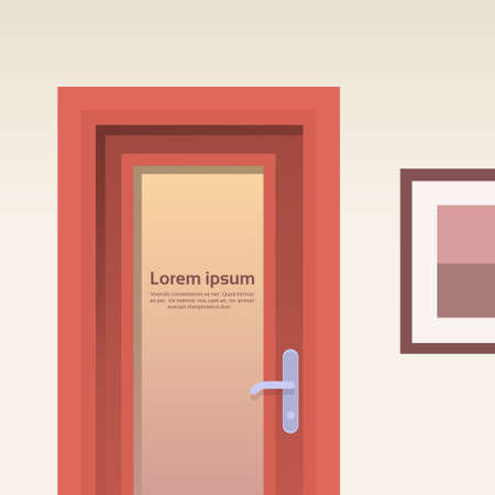 room door: Office Room Door Corridor Hallway Flat Vector Illustration