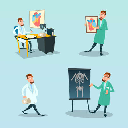 Medical Doctor Set Surgeon And Cardiology Medicine Flat Vector Illustration