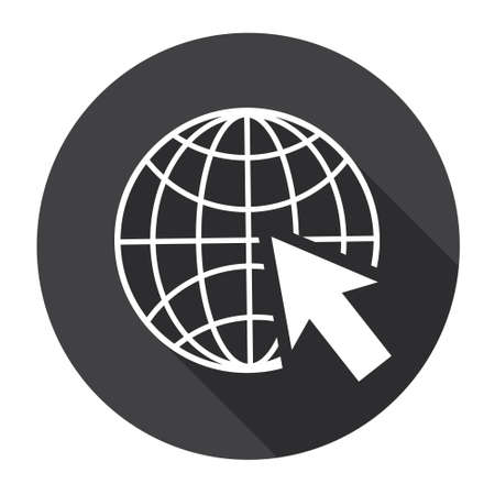 globe arrow: Earth Planet Globe Arrow Computer Icon Search Flat Vector Illustration