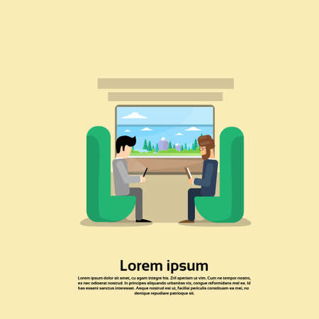 passenger compartment: Two Man In Train Compartment Vacation Holiday Trip Banner Flat Vector Illustration Illustration