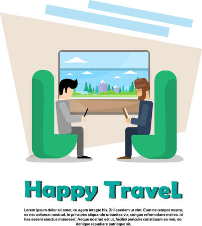 Two Man In Train Compartment Vacation Holiday Trip Banner Flat Vector Illustration Illustration