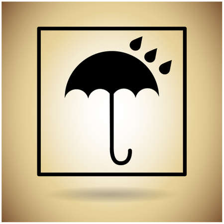 package icon: Package Icon Umbrella Rain Drop Flat Vector Illustration