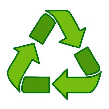 Recycle Symbol Green Web Icon Flat Vector Illustration Illustration