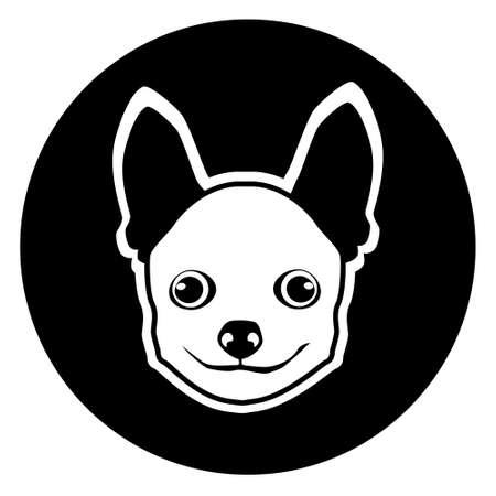chihuahua: Small Dog Animal Pet Web Icon Flat Vector Illustration