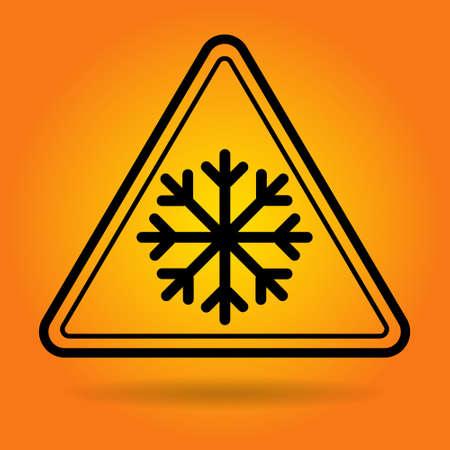 slip hazard: Ice Road Safety Sign Icon Flat Vector Illustration