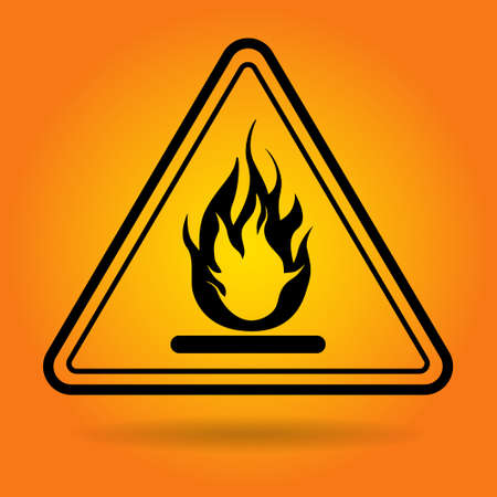 Fire Danger Safety Sign Icon Flat Vector Illustration