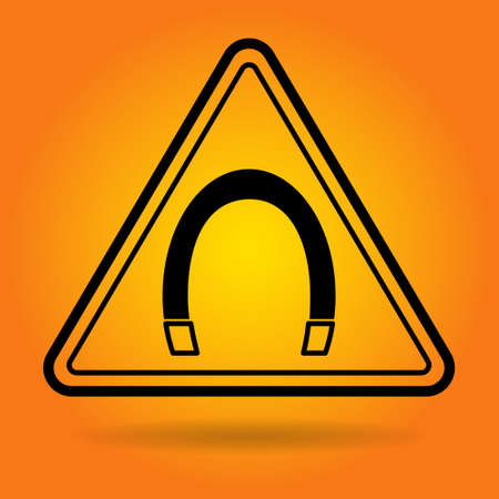 magnetic field: Magnetic Field Safety Sign Icon Flat Vector Illustration