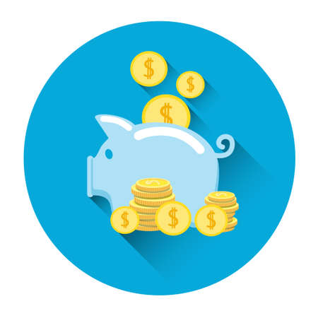 Piggy Bank Coin Finance Icon Flat Vector Illustration