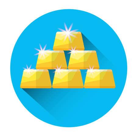 investing: Gold Bricks Investing Icon Flat Vector Illustration